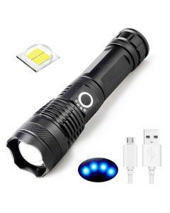 Latarka USB do ładowania XHP50 LED Light 5 tryby 26650/18650 zoomable latarka