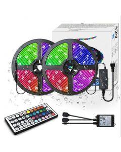 LED Strip Lights RGB 300led M kolor zmiana 5050 elastyczne LED Rope oświetlenie LED Strip Lights Kit z 44 Keys pilot IR i UL zasilacz do sypialni Pokój Home Kitche