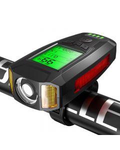 3 w 1 USB Flashlight rower 5 LED Bike Computer / Horn Bike Front Light IPX4 Wodoodporne reflektory Drogomierz Akcesoria rowerowe