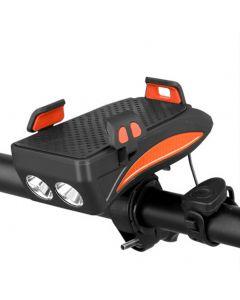 Wielofunkcyjny 4 w 1 MTB Rower Światło USB Akumulator LED Rower Head Lampa Rower Horn Phone Holder Powerbank Cycling Front Light