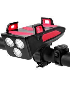 Rower Światło Wielofunkcyjne 4 W 1 Bike Light 800 Lumens Bike Flashlight Bike Horn Phone Holder Power Bank Rower Przednie światło